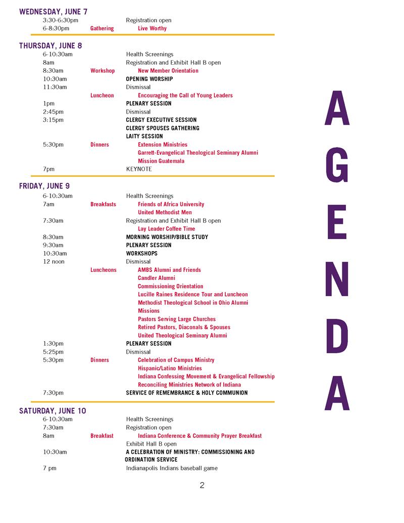 Conference Agenda | Indiana Umc 2017 Annual Conference Agenda